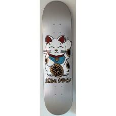 "jeremy klein ""kawaii unlucky cat"" 8.0 X 31.75 HAND SCREENED METALLIC SILVER"